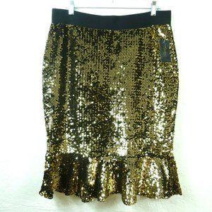Thalia Sodi Trumpet Skirt L Gold Sequin Ruffle Hem